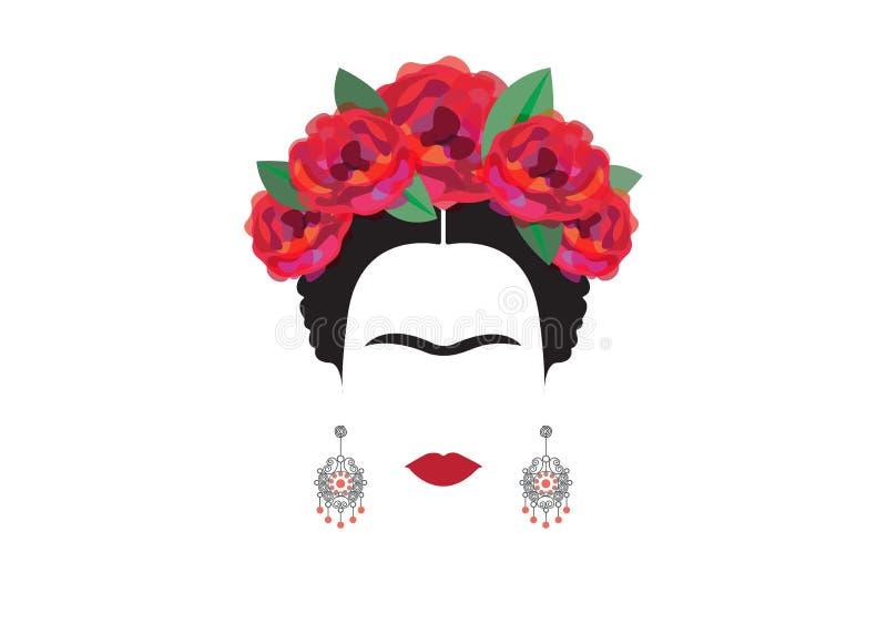 Retrato minimalista de Frida Kahlo con los pendientes y las rosas ilustración del vector