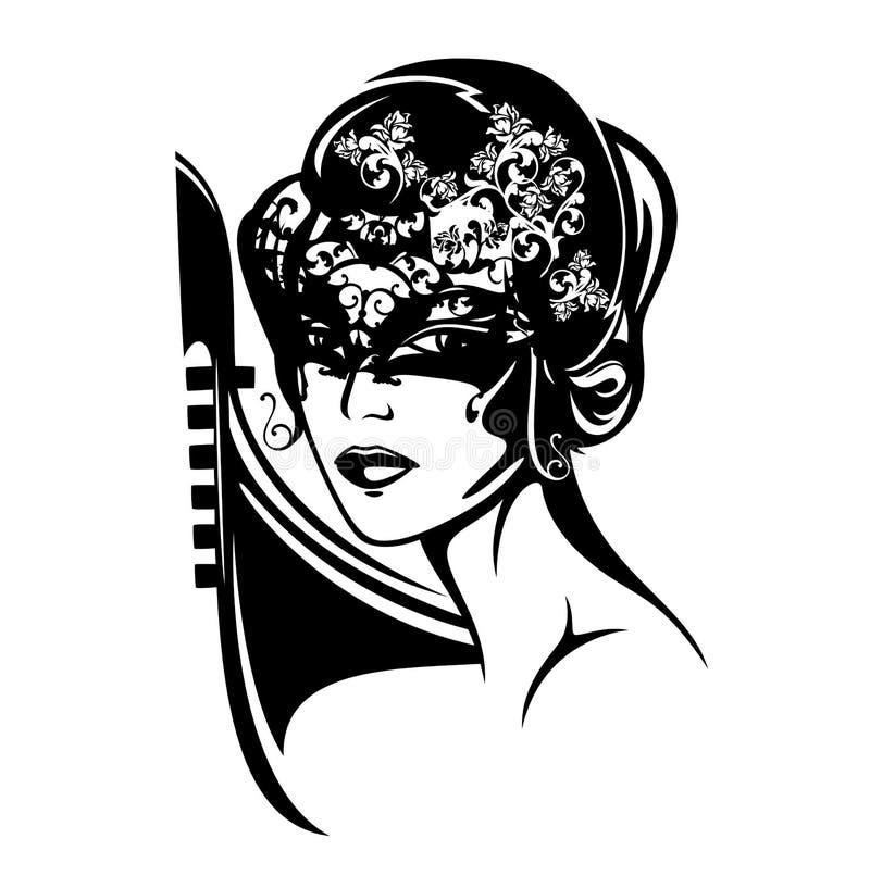 Retrato misterioso do vetor da mulher do carnaval Venetian ilustração stock