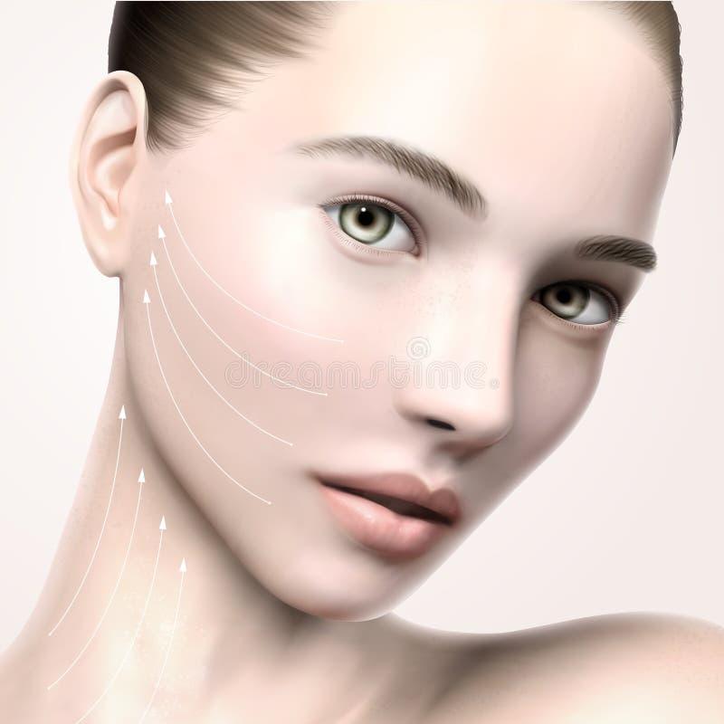 Retrato modelo bonito da cara ilustração do vetor