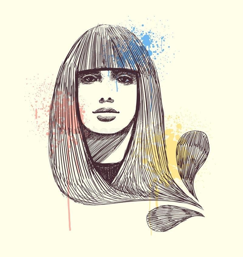 Retrato modelo desenhado mão ilustração royalty free