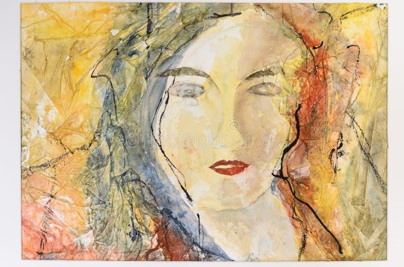 Retrato moderno de la acuarela de una mujer joven foto de archivo libre de regalías