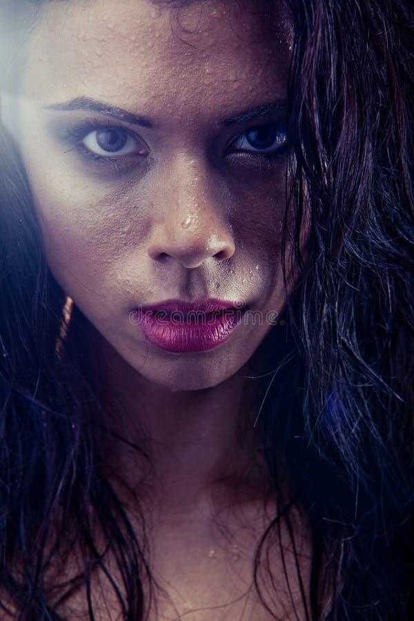 Retrato molhado da mulher de Bruntette imagens de stock