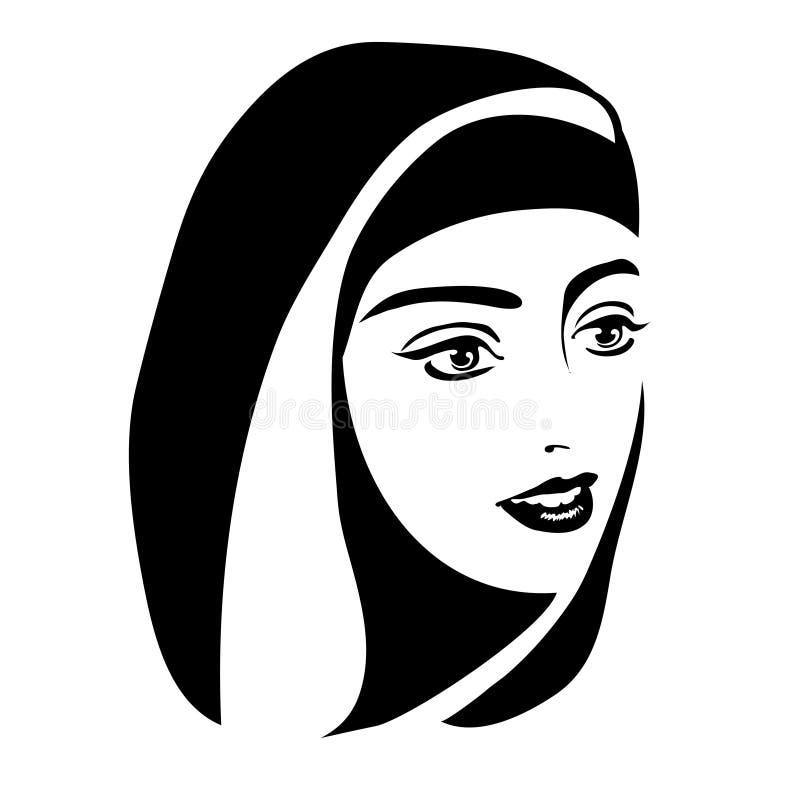 Retrato monocromático de uma mulher muçulmana em um hijab ilustração do vetor