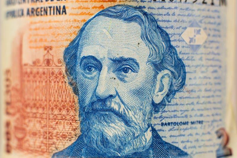 Retrato na conta de dinheiro argentina de 2 pesos imagens de stock