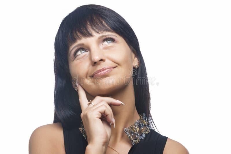 Retrato natural de pensar a mulher moreno fotos de stock royalty free