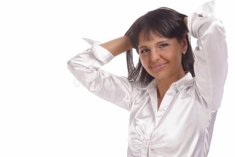 Retrato natural de uma mulher moreno de sorriso amigável alegre imagens de stock