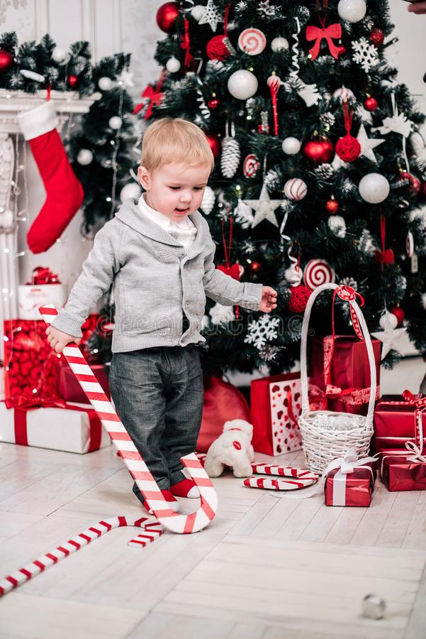 Retrato navideño de un joven y acogedor ambiente alrededor de la chimenea y el árbol de Navidad foto de archivo