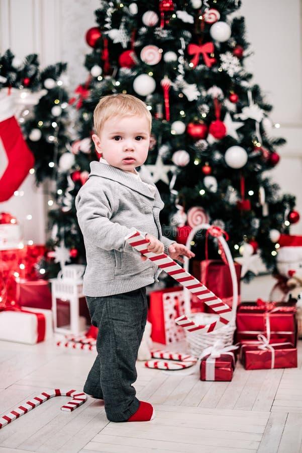 Retrato navideño de un joven y acogedor ambiente alrededor de la chimenea y el árbol de Navidad imágenes de archivo libres de regalías