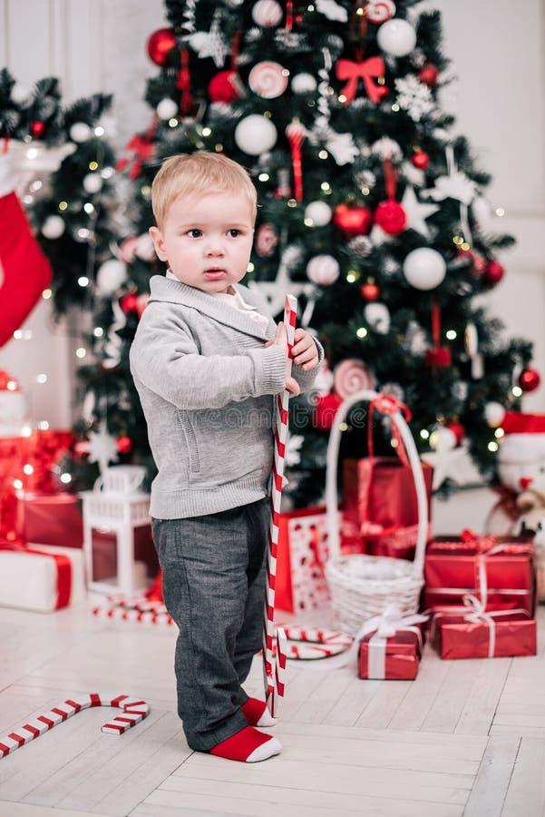 Retrato navideño de un joven y acogedor ambiente alrededor de la chimenea y el árbol de Navidad fotos de archivo libres de regalías