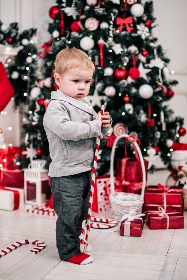 Retrato navideño de un joven y acogedor ambiente alrededor de la chimenea y el árbol de Navidad foto de archivo libre de regalías