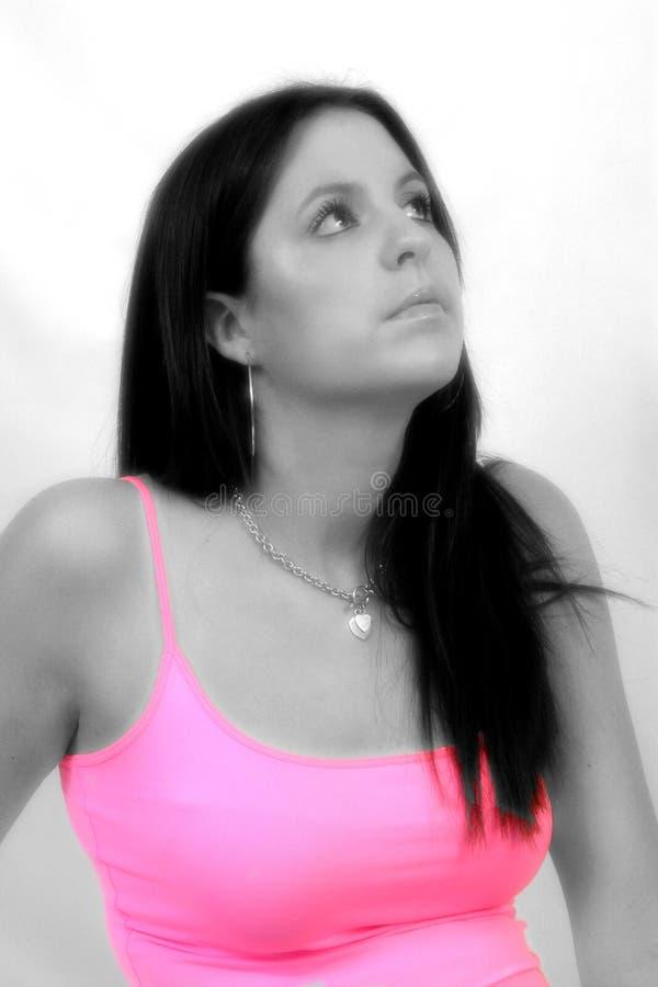 Retrato negro y blanco con el colorante selectivo fotografía de archivo libre de regalías