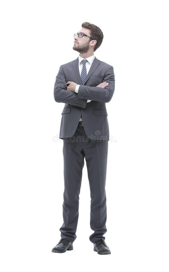 Retrato no crescimento completo de um homem de negócios seguro sério imagens de stock