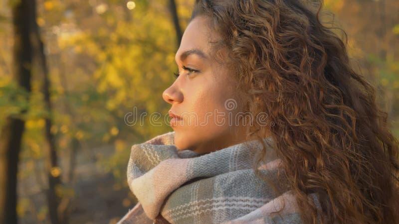 Retrato no perfil da menina caucasiano consideravelmente encaracolado-de cabelo que olha seriamente leftwards no parque outonal imagem de stock royalty free