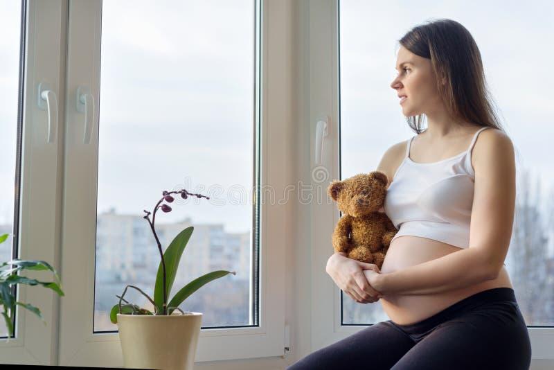 Retrato no perfil da morena nova bonita da mulher gravida que senta-se perto da janela panorâmico com o urso de peluche do brinqu fotografia de stock royalty free