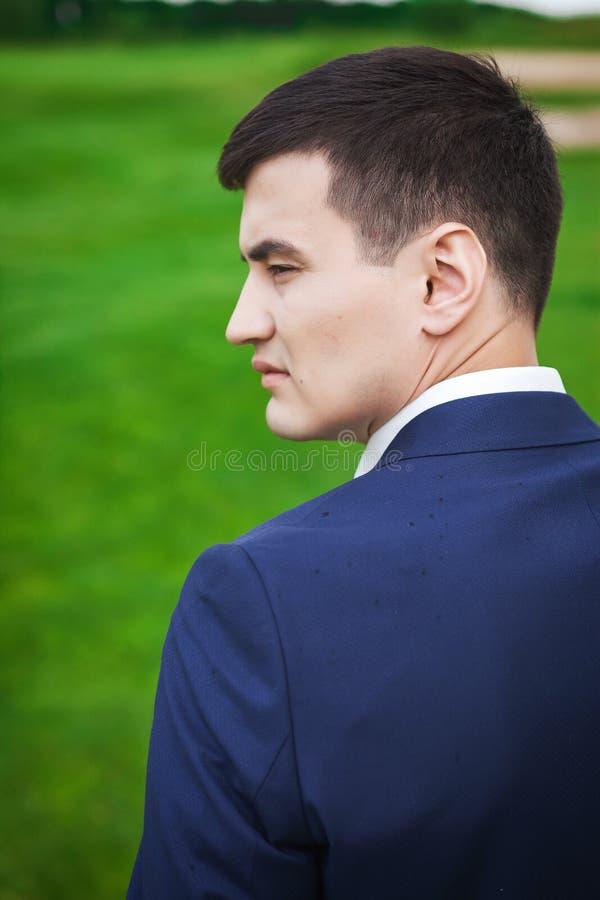 Retrato no perfil do noivo considerável no prado imagens de stock