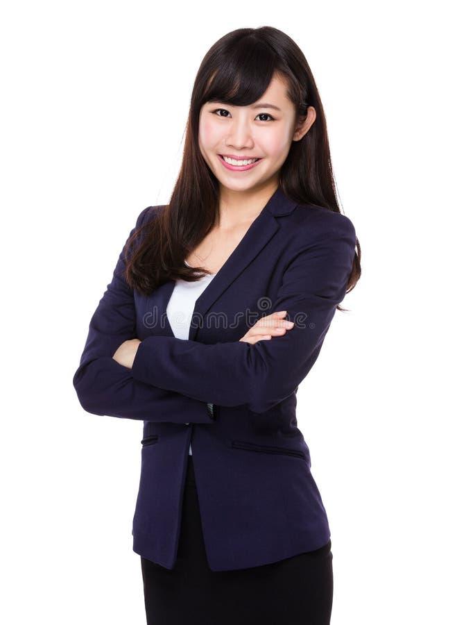 Retrato novo asiático da mulher de negócios foto de stock