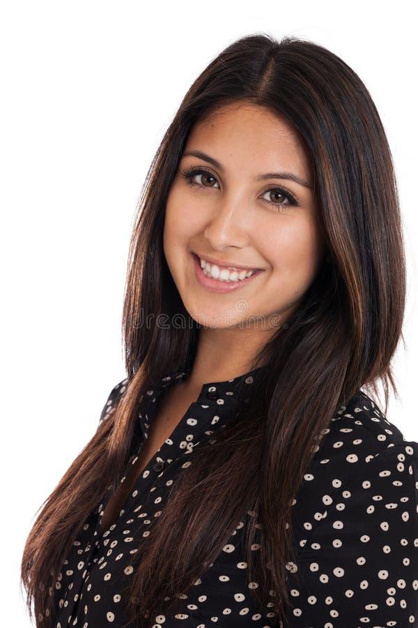 Retrato novo bonito da mulher da raça misturada isolado no branco imagens de stock