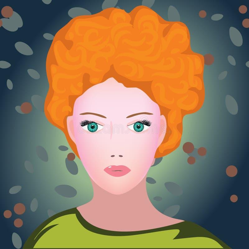 Retrato novo da mulher da beleza do ruivo ilustração do vetor