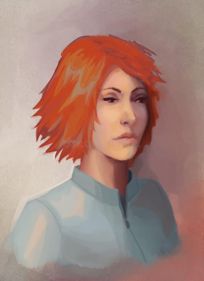 Retrato novo da mulher do redhead ilustração do vetor