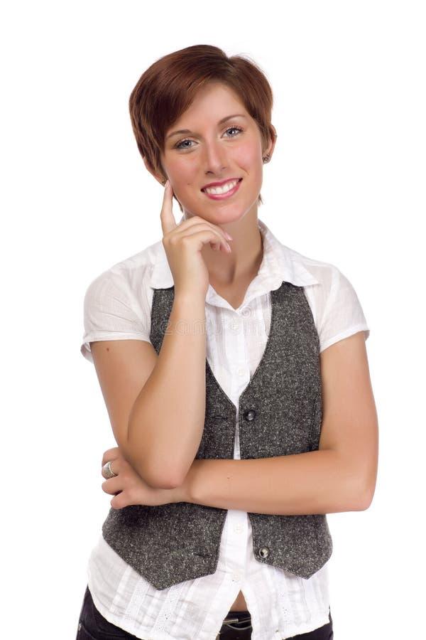 Retrato novo de sorriso da fêmea adulta isolado imagens de stock