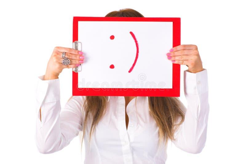 Retrato novo do sorriso do computador da terra arrendada da mulher de negócios imagens de stock