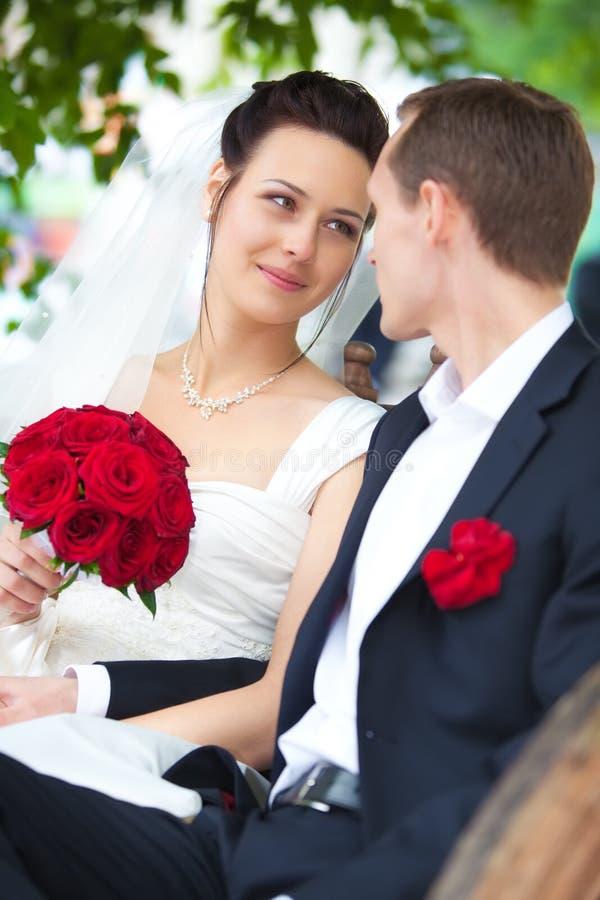 Retrato novo dos pares do casamento imagem de stock