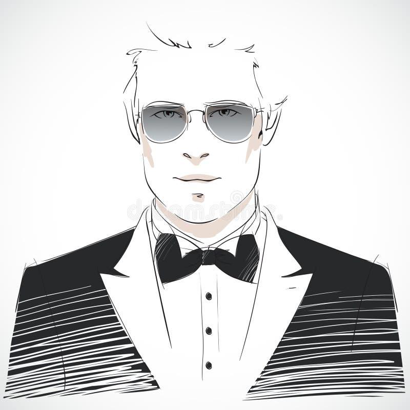 Retrato novo elegante do homem de negócios ilustração stock