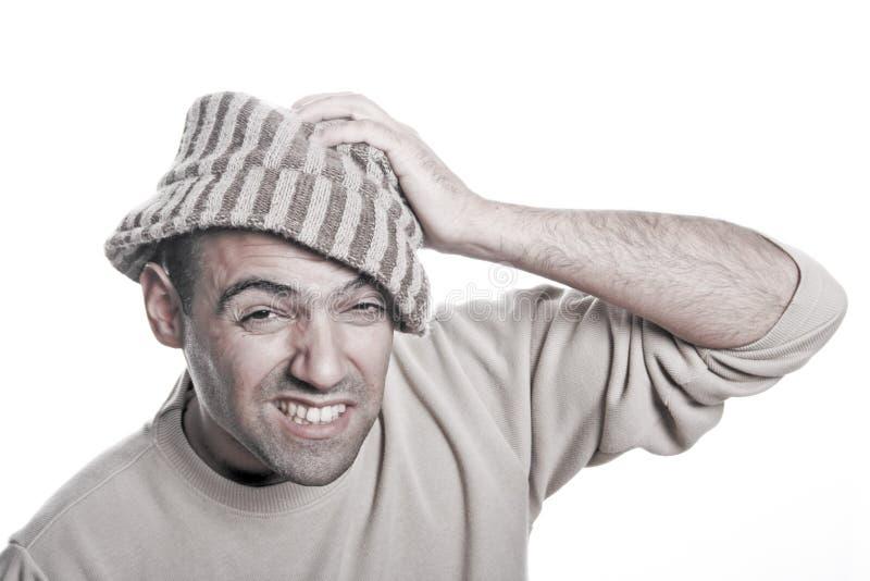 Retrato ocasional do homem com chapéu mim imagens de stock royalty free