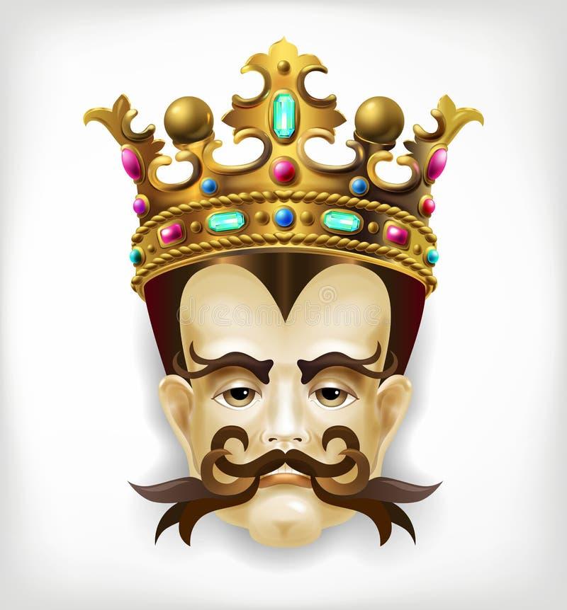 Retrato original de un rey formidable característico realista ilustración del vector