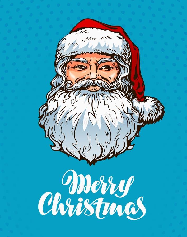 Retrato Papá Noel Tarjeta de felicitación de la Feliz Navidad Ilustración del vector libre illustration