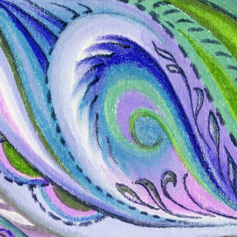 Retrato, pastel, abstrato ilustração stock