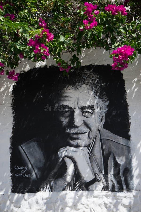 Retrato pintado de Marquez em Colômbia imagens de stock