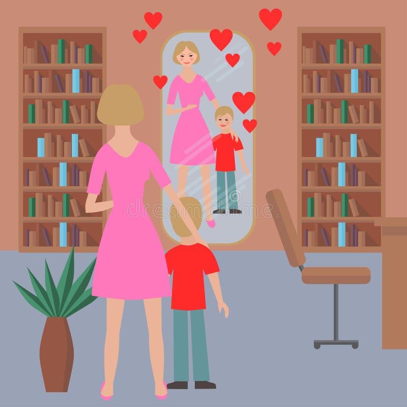 Retrato plano de la familia feliz con la madre y el niño ilustración del vector