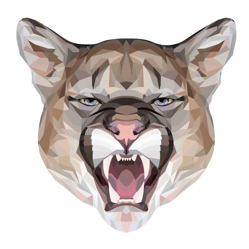 Retrato poligonal do puma ilustração do vetor