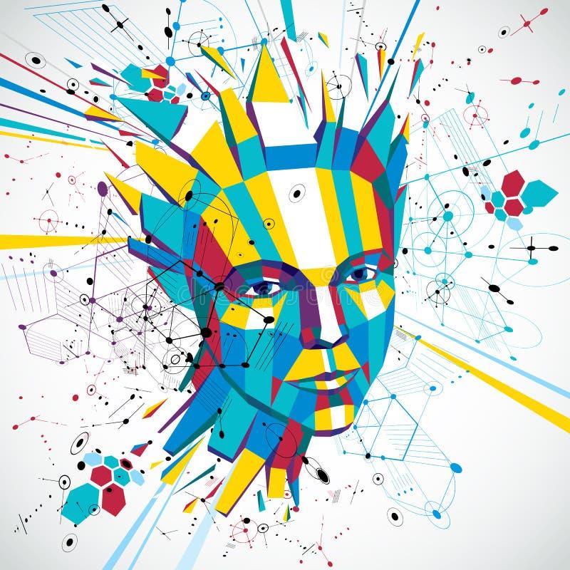 retrato polivinílico bajo de una mujer elegante, pensamientos humanos del vector 3d hechos frente ilustración del vector