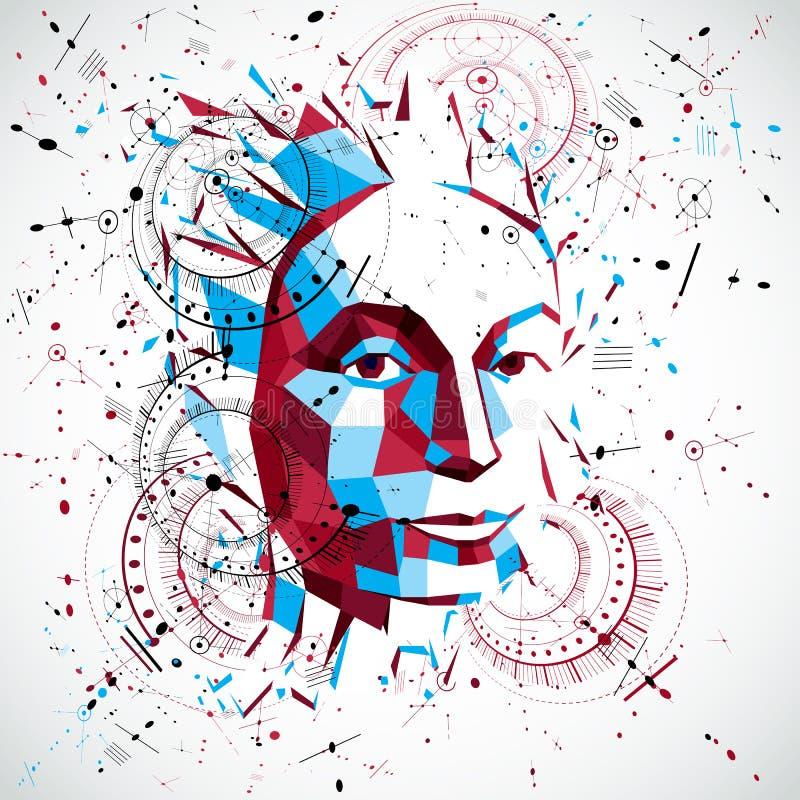 retrato polivinílico bajo de una mujer elegante, pensamientos humanos del vector 3d hechos frente libre illustration