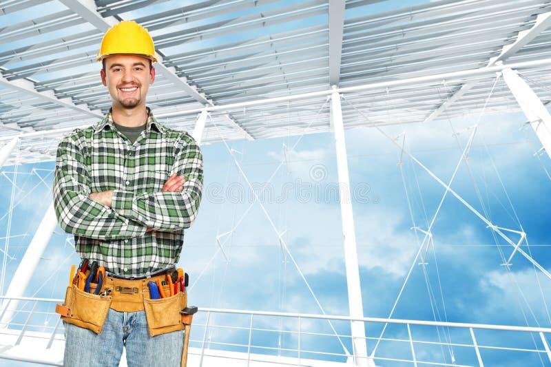 Retrato positivo do trabalhador manual fotos de stock royalty free