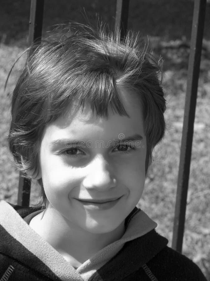 retrato Preto-branco da criança fotografia de stock