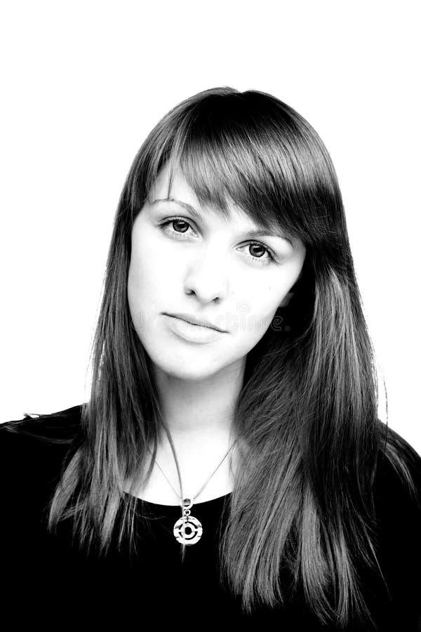 Retrato preto e branco da menina imagem de stock