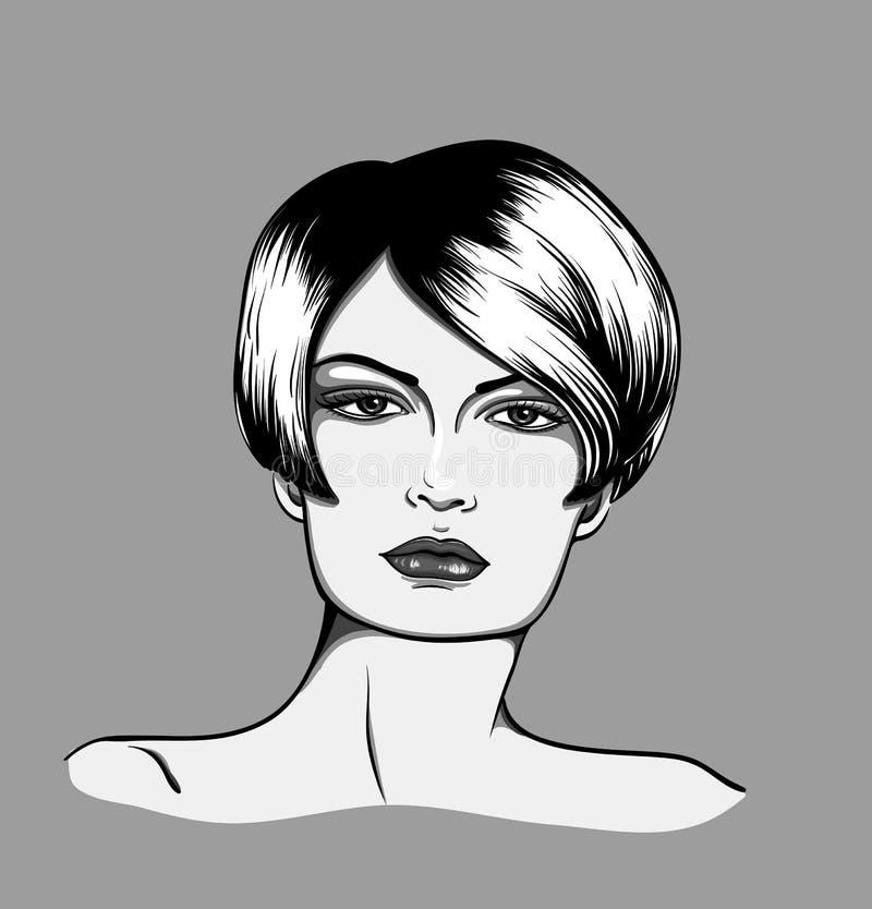 Retrato preto e branco da mulher fotos de stock