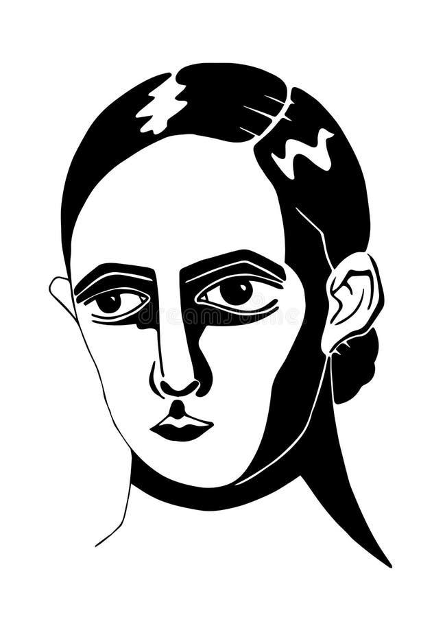 Retrato preto e branco de uma menina fotografia de stock