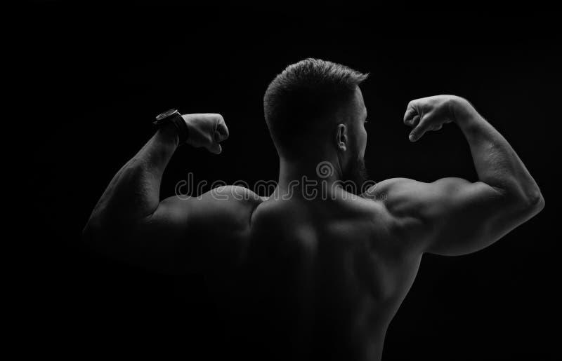 Retrato preto e branco do halterofilista imagem de stock