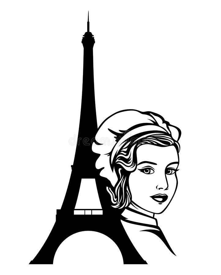 Retrato preto e branco do vetor do cozinheiro francês do cozinheiro chefe ilustração stock