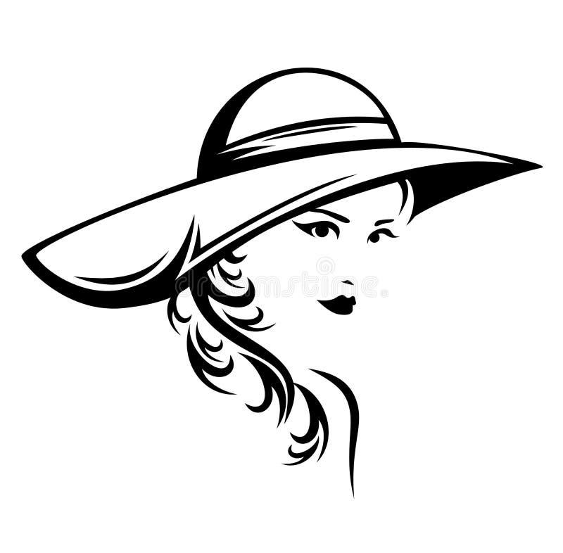 Retrato preto e branco do vetor de uma mulher bonita ilustração royalty free