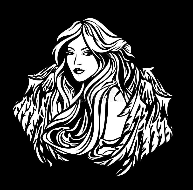 Retrato preto e branco voado do vetor da mulher do anjo ilustração do vetor