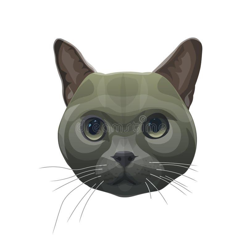 Retrato principal do gato ilustração stock