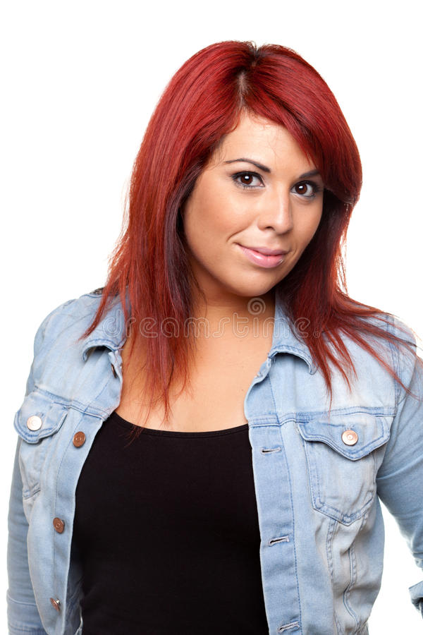 Retrato principal vermelho da mulher fotografia de stock