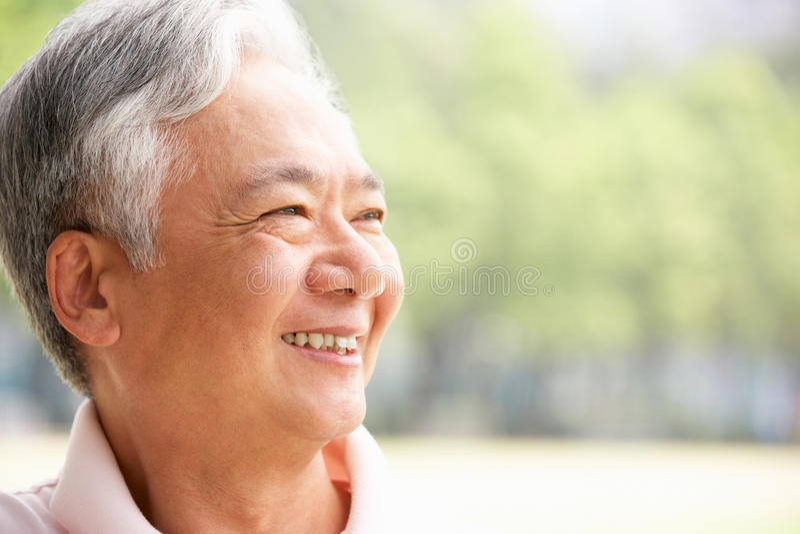 Retrato principal y de los hombros del hombre chino mayor foto de archivo