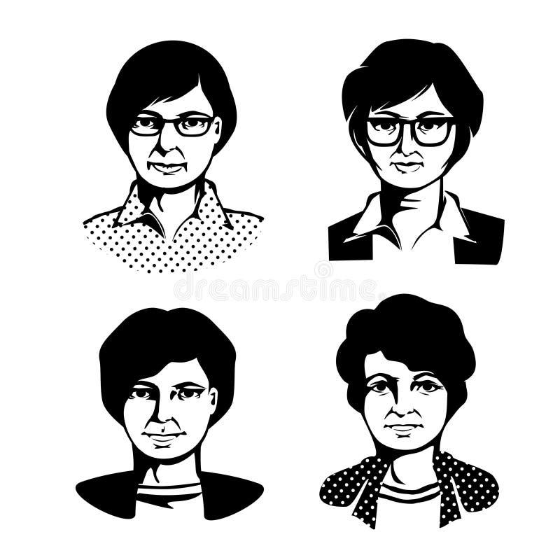 Retrato quatro das mulheres esboço ilustração royalty free