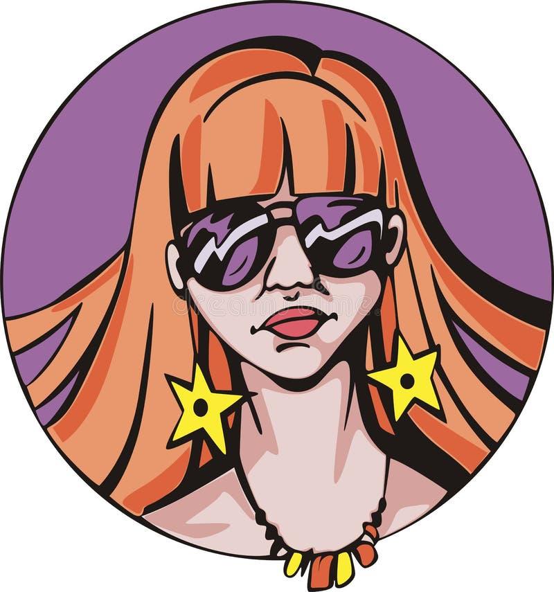 Retrato redondo da mulher bonito nova do ruivo ilustração royalty free